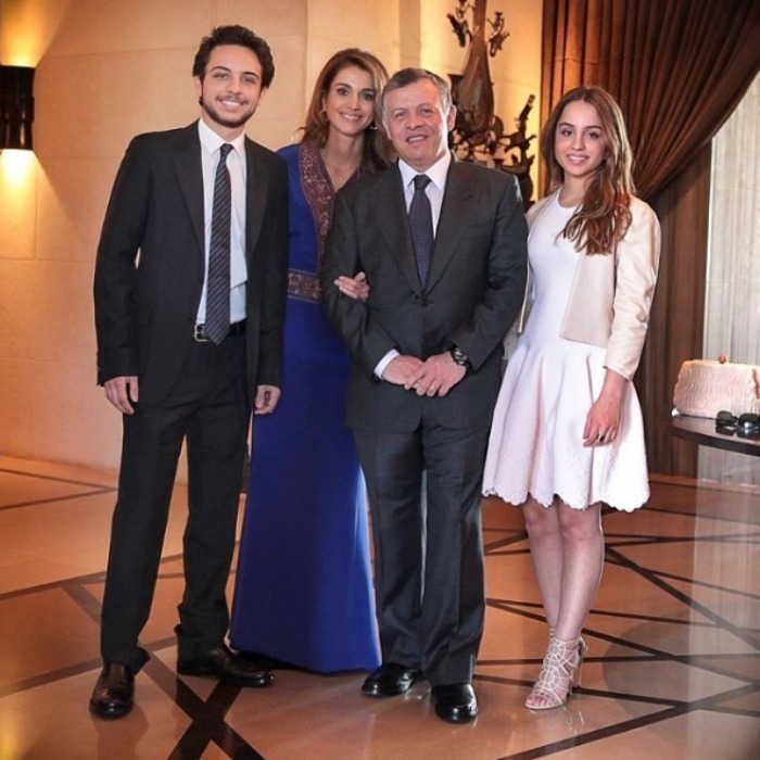 Iman looked pretty as a picture in a family photo featuring her mother, Queen Rania, her father, Abdullah II of Jordan, and her equally stylish older brother, Hussein, Crown Prince of Jordan while en route to a wedding celebration. 