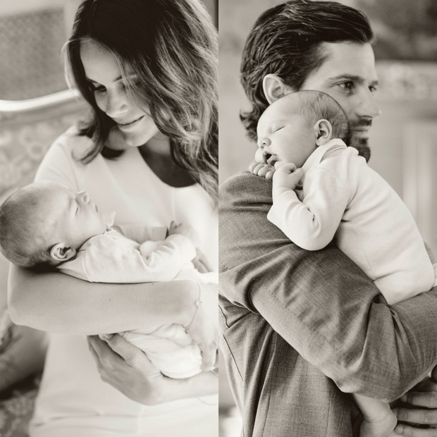Sofia and Carl Philip cuddled up to their sweet little boy Prince Alexander.