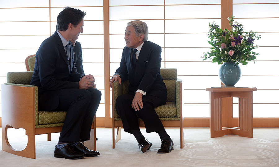 Akihito welcomed Canada's Prime Minister Justin Trudeau to the palace in May.