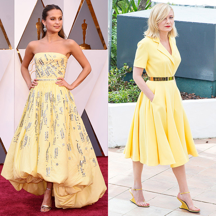 Alicia's couture confection (left) may have initially brought to mind Disney's Belle from <em>Beauty and the Beast</em>, but it ushered in a new kind of fairytale moment for the star of <em>The Danish Girl</em>, who took home the Oscar for Best Supporting Actress. Kate's interpretation of the sunny shade ensured its must-have status this season – and in May, Kirsten Dunst (right) proved that blonds can find a flattering hue as well by wearing lemon Christian Dior couture at a photocall in Cannes.