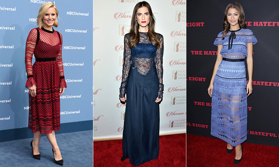 Kristen Bell's (left) scarlet outfit for the NBCUniversal Upfronts by Philosophy perfectly illustrates lace's welcome pops of colour. And while <em>Girls</em> star Allison Williams (in Nina Ricci, centre) and actress Zendaya (in Self Portrait, right) went for sheer looks, Kate had panels of fabric added to her outfit to cover up for lunch with the Prime Minister of India. Even when hewing to a dress code, Kate knows how to push her personal style boundaries.