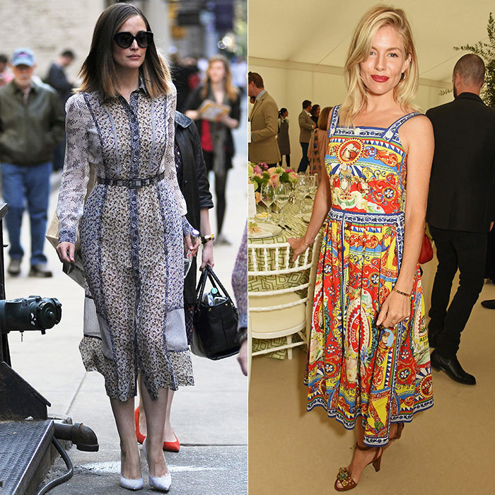 Stylish A-listers Rose Byrne (in Bottega Veneta, left) and Sienna Miller (in Dolce & Gabbana, right) prove that bold mixed prints work best in sophisticated constructions and simple heels. Keep the hemline at midi-length or just above the ankle for a pretty look that doesn't overpower.
