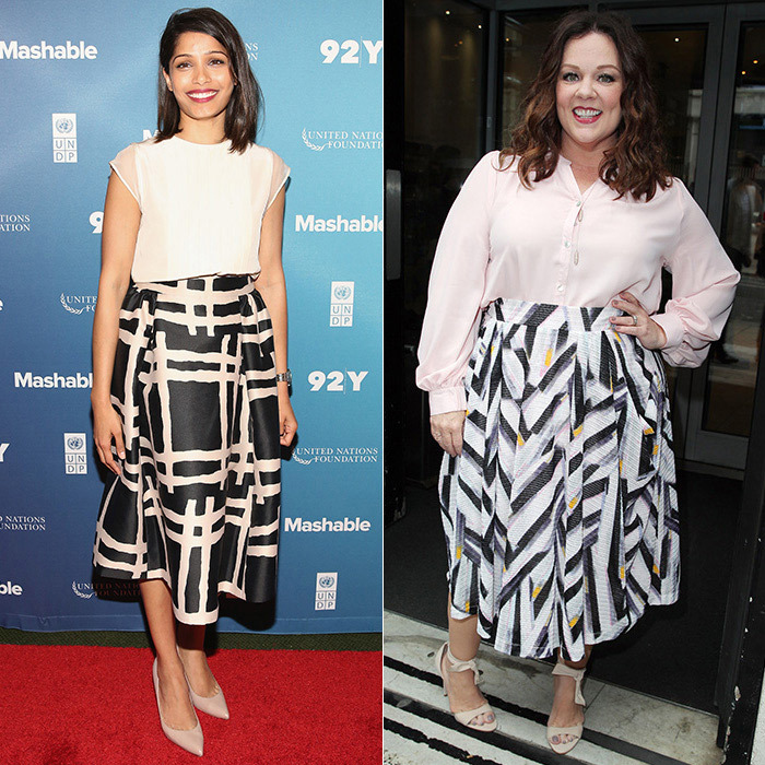 Full, printed skirts have also proven popular with the stars. Freida Pinto (left) wore a Kate Spade version in New York City and Melissa McCarthy (right) opted for a zig-zag print in London. Put a sophisticated spin on the trend by keeping your colour palette to cream, charcoal and blue.