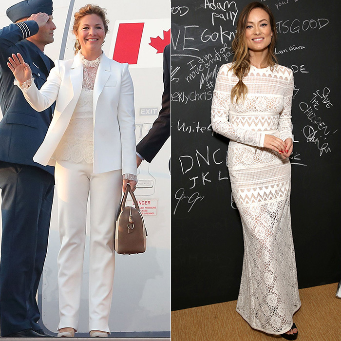 And as Kate and Canada's own Sophie Grégoire Trudeau (left) prove, the peekaboo lacy look that the likes of Olivia Wilde (right) choose for the red carpet can be easily adapted to suit more conservative occasions.