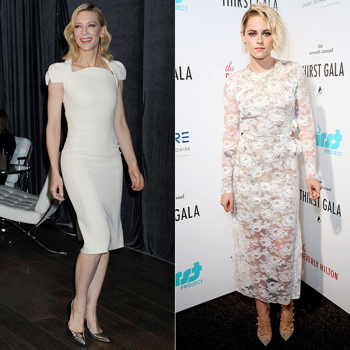 Like Kate, stylish celebrities from Cate Blanchett (left) to Kristen Stewart (right) have also worn the new white to brilliant effect. The key to looking cool, not clinical, is to choose pieces with texture and intricate details.