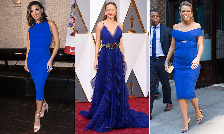 Savvy style stars like Eva Longoria (left) and Brie Larson (centre) – who wore a ruffled Gucci dress when claiming her Best Actress honour – would approve. Shortly after Kate's rhapsody in blue, Blake Lively (right) gave a bold interpretation of the look for moms-to-be in an off-the-shoulder Cushnie et Ochs dress.</p>
