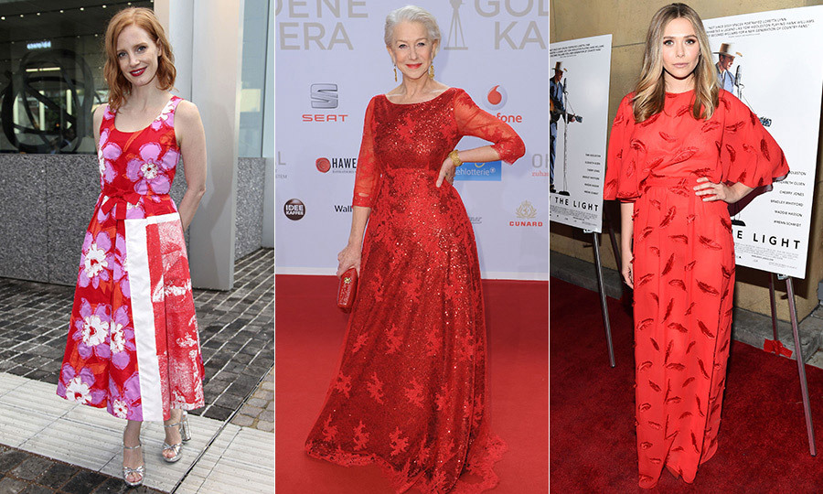 Flower power also came through on Jessica Chastain's (left) pop art-inspired cocktail dress and Helen Mirren's (centre) Jacques Azagury gown embellished with 3D floral sequins. Actress Elizabeth Olsen (right) opted for a subtle take on Kate's sweeping print in an Emilio Pucci gown with a delicate feather motif.