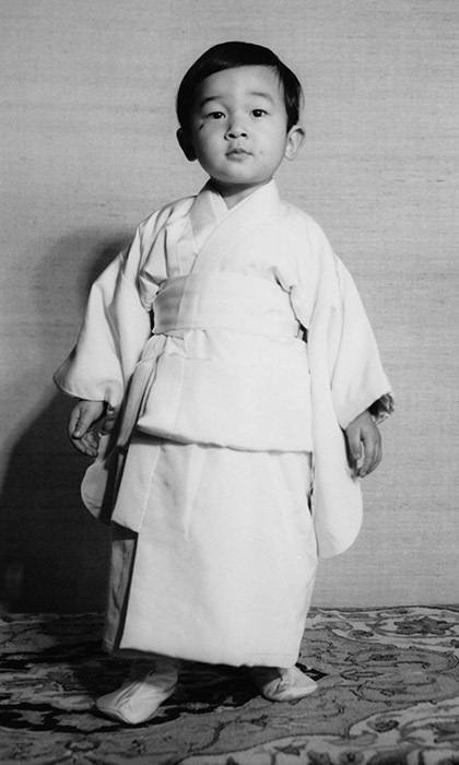 Crown Prince Naruhito of Japan, aged two. 