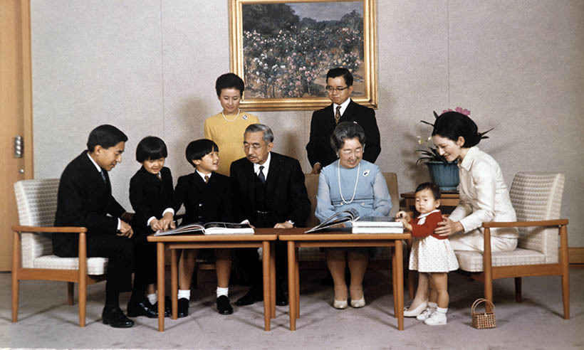 The family gather at the Imperial Palace in Tokyo in 1971.