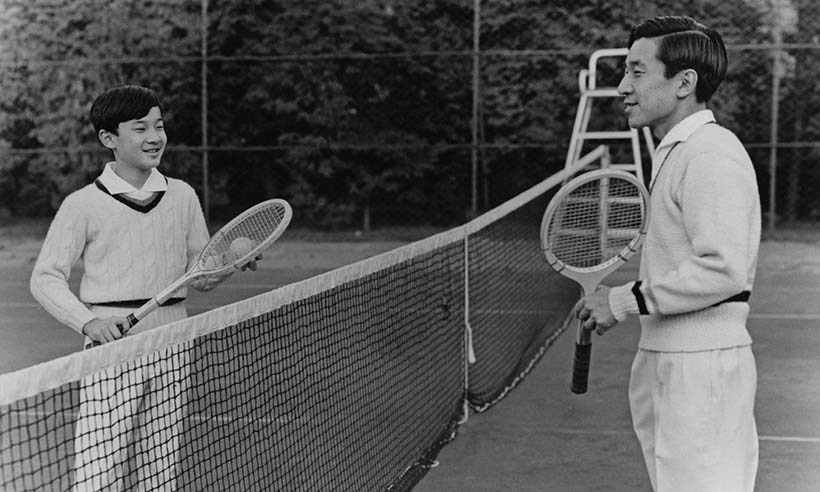 1973: Prince Naruhito plays tennis with his father Emperor Akihito, who he will now succeed following his abdication. 