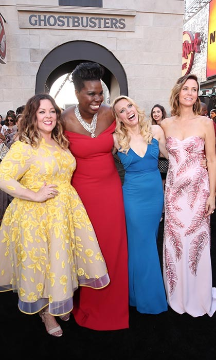 The leading ladies of <em>Ghostbusters</em> (From left: Melissa McCarthy, Leslie Jones, Kate McKinnon and Kristen Wiig) swapped their uniforms for couture at the film's premiere in Los Angeles. 