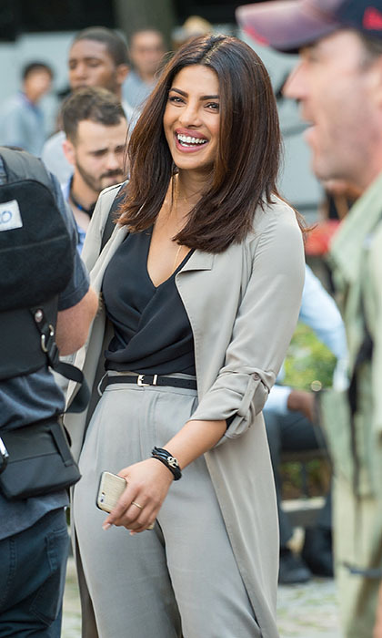 Priyanka Chopra was all smiles as she filmed scenes from her hit drama <em>Quantico</em> in the streets of New York. 