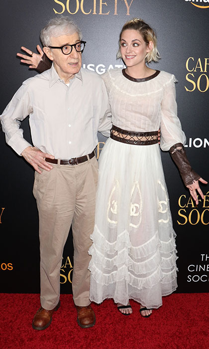 Director Woody Allen posed with his leading lady Kristen Stewart at the premiere of <em>Café Society</em> in New York.