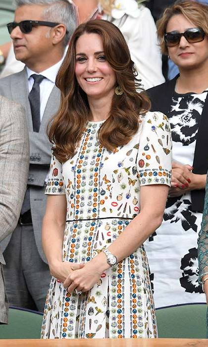 The Duchess of Cambridge looked glamorous in an Alexander McQueen dress at the Wimbledon finals. 