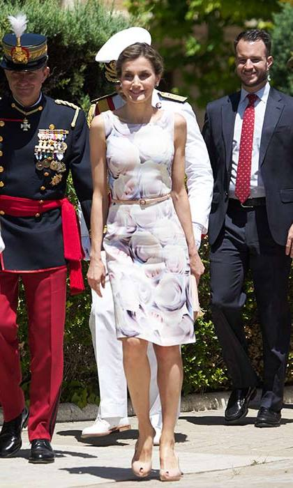 Queen Letizia looked elegant in a floral print dress at a military event in Spain.