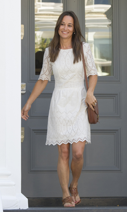 Pippa Middleton stepped out in a bridal white summer dress.