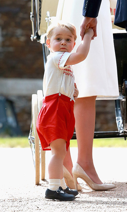 The toddler was the epitome of cute as he turned up for Princess Charlotte's christening in a $168 outfit of red shorts and embroidered shirt by British designer Rachel Riley. The look immediately called to mind an almost-identical ensemble that Prince William wore when he first met Prince Harry in the hospital in 1984. The day after the christening, there were no 12 month and 18 month sizes left on the company's online store - another successful sweep for the George Effect.