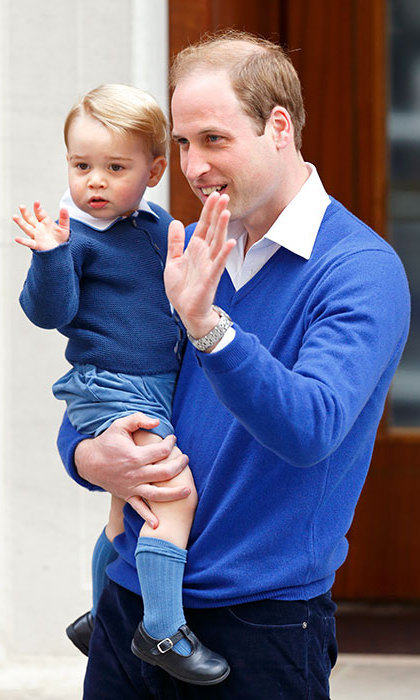 When Prince George visited the hospital to meet his baby sister, Princess Charlotte, he gave his first waves to the waiting crowds and was perfectly coordinated with dad in matching blue ensembles with white collars. The picture-perfect moment was so adorable, in fact, that the blue Amaia Kids cardigan the then-21-month-old wore sold out within hours. The long-sleeved knitted sweater, which features a round neckline and buttons down the front, retails for approximately $75, and his socks by the same brand cost about $13.