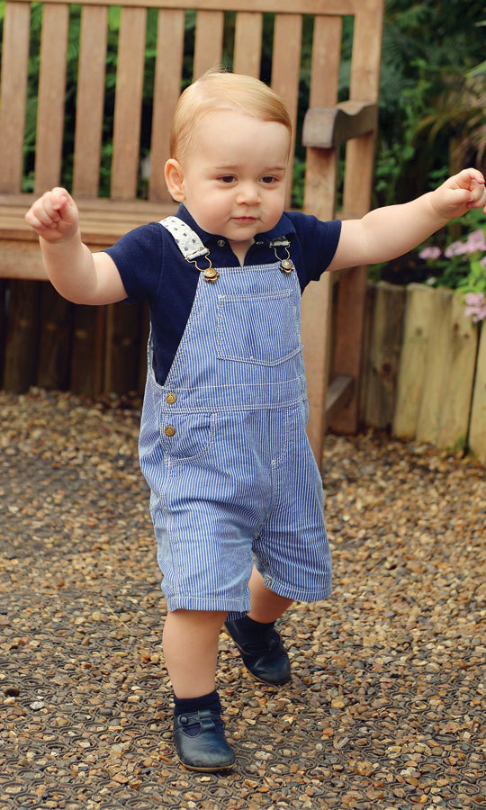 This portrait of spritely Prince George touring the Sensational Butterflies exhibition at the Natural History museum in 2014 brought a lot of attention to his adorable Petite Bateau striped denim dungarees. The overalls quickly sold out from the company's website.