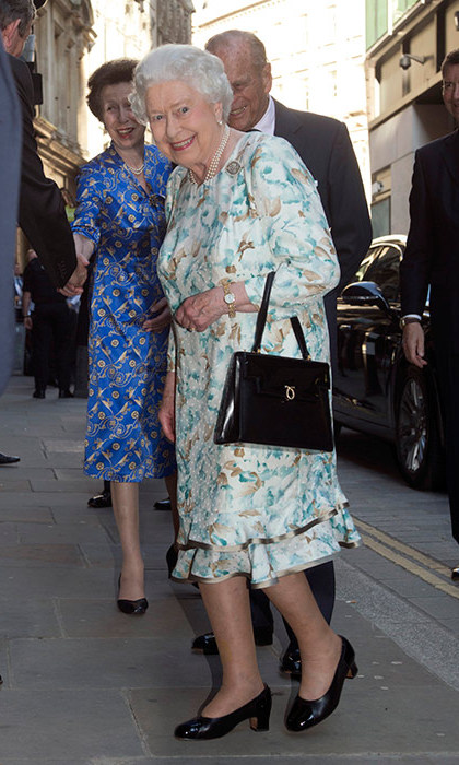 Queen Elizabeth, The Duke of Edinburgh, Princess Anne and Sir Tim Laurence arriving at a private party hosted by the Monarch at Drapers' Hall. 
