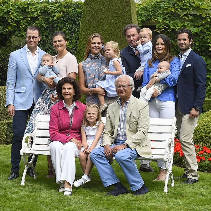 The Swedish royal family gathered for a family portrait in Solliden Palace, their summer residence.