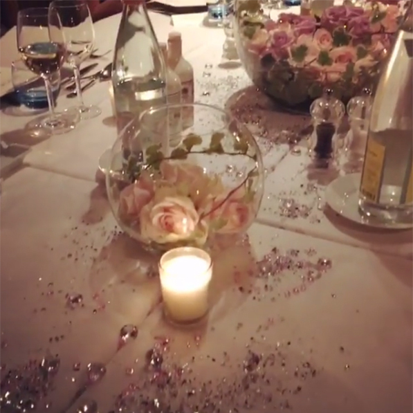 She shared photos of the decadent table settings on Instagram.