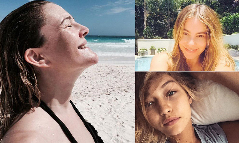 Bare faced and beautiful, these stars have embraced the no make-up selfie.