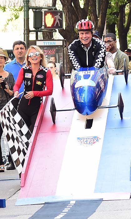 Andy Cohen tried out soap box derby racing during his co-hosting duties on <i>Live with Kelly</i>.