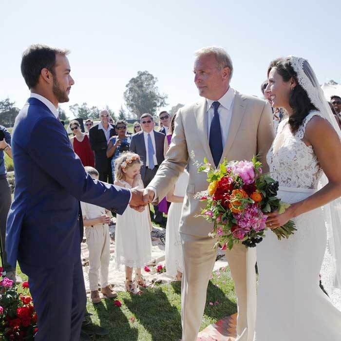 Kevin Costner was a very proud father of the bride as he escorted his eldest daughter Annie Costner down the aisle during a beautiful outdoor ceremony held at the movie star's estate in California.