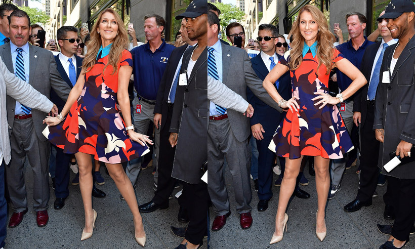 Celine Dion made a vibrant appearance in New York on Thursday (Jul. 21), showing off her enviable legs in a floral summer dress. The singer will perform on <i>Today </i> on Friday morning before heading to Quebec to kick off her 17-show residency in the province on Jul. 31. 