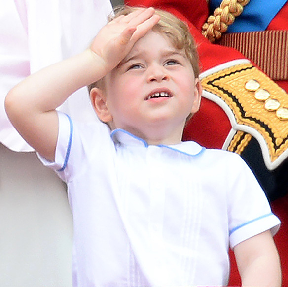 <p>His royal cuteness watched the RAF flypast while appearing on the balcony at Buckingham Palace with his family. 
