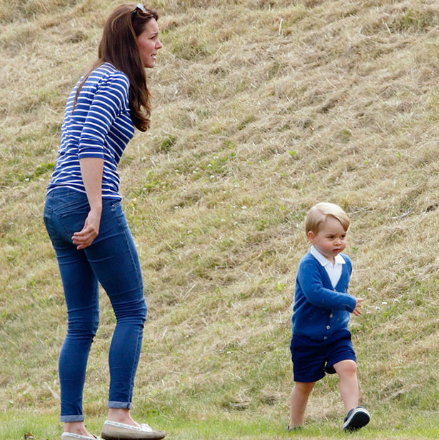 Kate had her hands full chasing after an active Prince George as they supported Prince William at a charity polo match in June 2015.