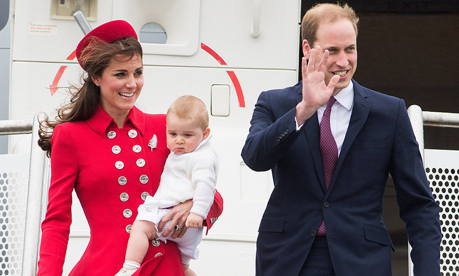 George joined his parents for his first official royal tour in New Zealand, where he tried to wriggle from his mother's arms as they stepped off the plane following a long-haul flight.