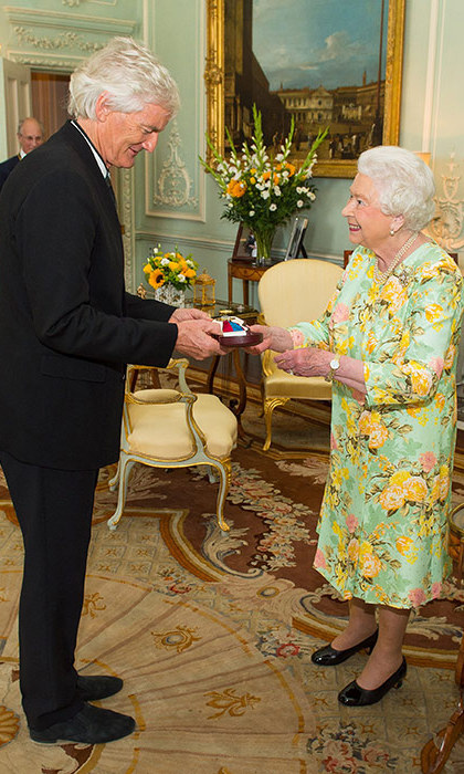 Queen Elizabeth wore a pretty green floral dress as she awarded James Dyson the Insignia of the Member of the Order of Merit at a private audience at Buckingham Palace.