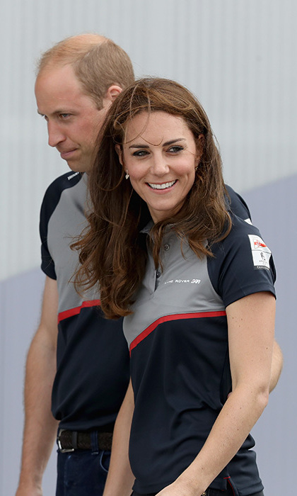 Kate smiled as she and Prince William arrived at the home crew's base. 
