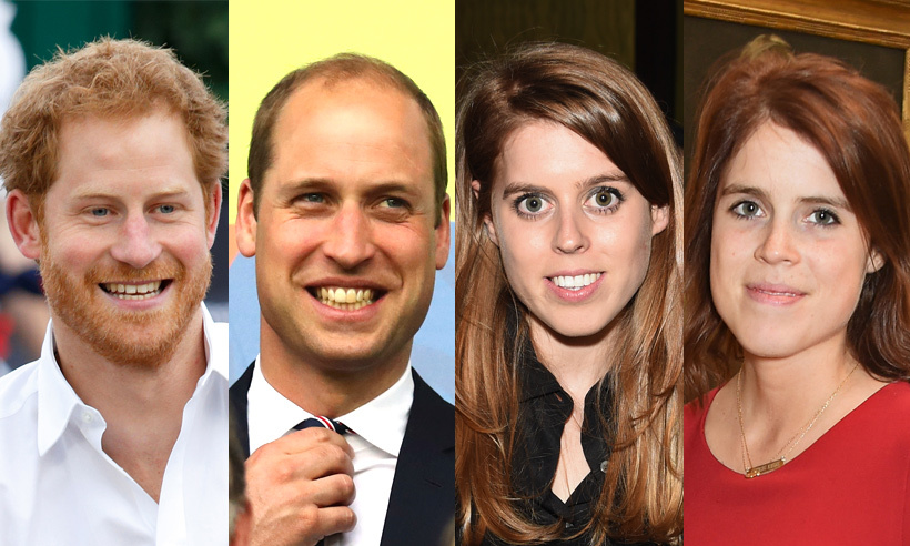 Royal cousins Prince Harry, Prince William, Princess Beatrice and Princess Eugenie.
