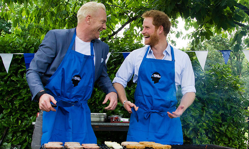 Prince Harry helped with the BBQ.