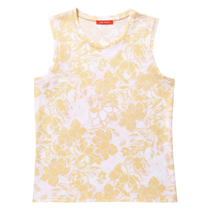 "<strong>Floral Print Crewneck Tank in Light Yellow</strong>, $14, <a href=""http://joefresh.com"" target=""_blank"">joefresh.com</a>"