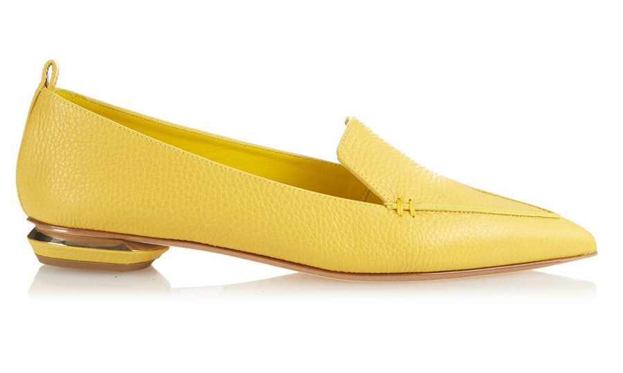 "<strong>Beya Leather Loafer in Yellow</strong>, $450, <a href=""http://nicholaskirkwood.com"" target=""_blank"">nicholaskirkwood.com</a>"