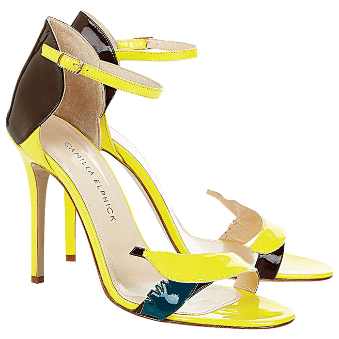 "<strong>Camilla Elphick Yellow Patent Leather Banana Heels</strong>, $338, <a href=""http://avenue32.com"" target=""_blank"">avenue32.com</a>"