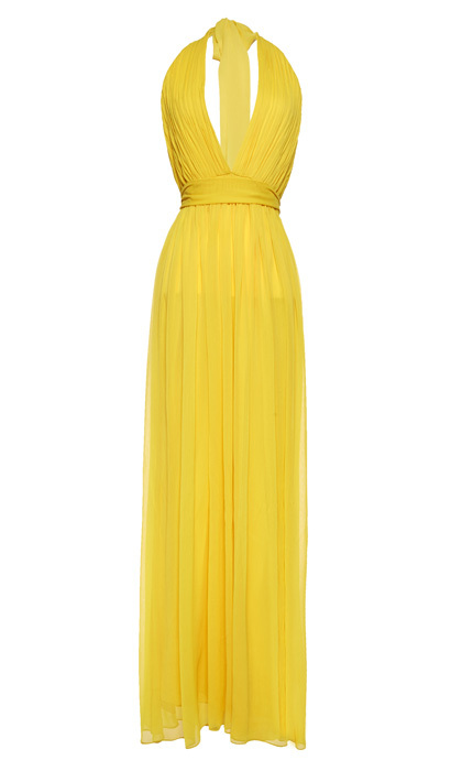 "<strong>Alice + Olivia by Stacey Bendet Kassidy Floor Length Halter Dress With Tie Belt</strong>, $385, <a href=""http://aliceandolivia.com"" target=""_blank"">aliceandolivia.com</a>"