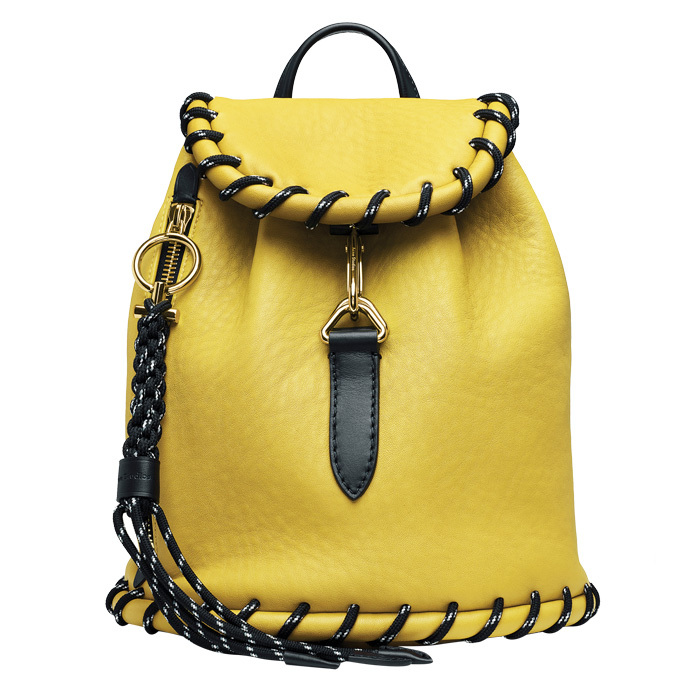 "<strong>Rope Jungle Yellow Small Backpack</strong>, $2,084, <a href=""http://acnestudios.com"" target=""_blank"">acnestudios.com</a>"