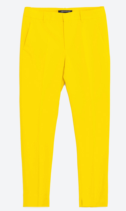"<strong>Chino Trousers in Yellow</strong>, $50, <a href=""http://zara.com"" target=""_blank"">zara.com</a>"