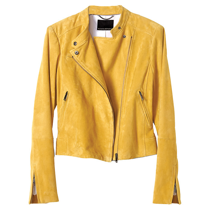 "<strong>Yellow Suede Moto Jacket</strong>, $525, <a href=""http://bananarepublic.ca"" target=""_blank"">bananarepublic.ca</a>"