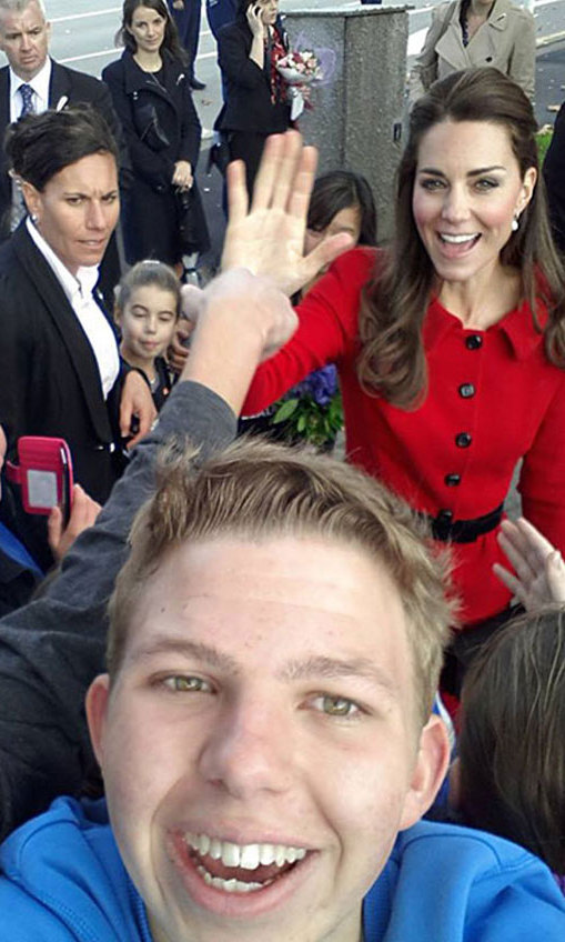 During her royal tour of New Zealand in 2014, Kate was gracious enough to stop and chat to well-wishers. She was caught in a selfie taken by one teenage boy, and even stretched out her hand to high-five another youngster.