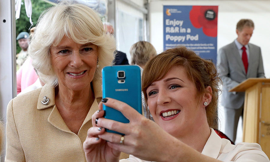 The Duchess of Cornwall was also more than happy to pose for a selfie with a fan.