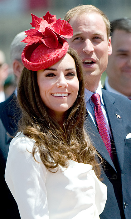 Kate embraced some Canadian pride by wearing a bright red fascinator adorned with maple leafs for Canada Day celebrations in 2011.
