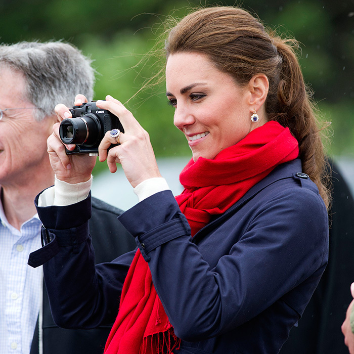 The keen photographer got in some practice when her husband Prince William participated in a simulated rescue operation on board a helicopter in P.E.I.