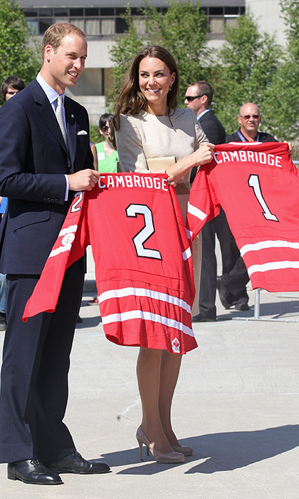 The couple left Canada with their very own hockey jerseys.