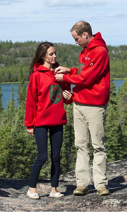 Fresh off their spring wedding, William and Kate were still in the honeymoon phase when they travelled all over the Great White North, including a stop in the Northwest Territories. Here, they wear Canadian Rangers sweaters after being named honorary members of the sub-component of the Canadian Armed Forces reserve.